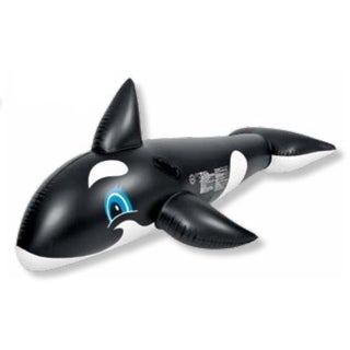 """75"""" Black and White Whale Rider Inflatable Swimming Pool Float Toy"""