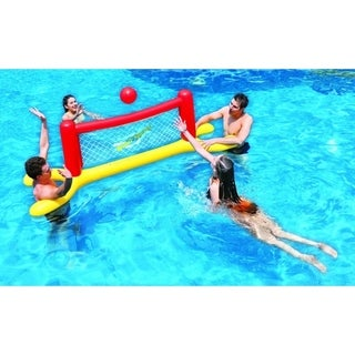 """94"""" Red  Yellow and Blue Inflatable Swimming Pool Water Sports Volleyball Game Set"""
