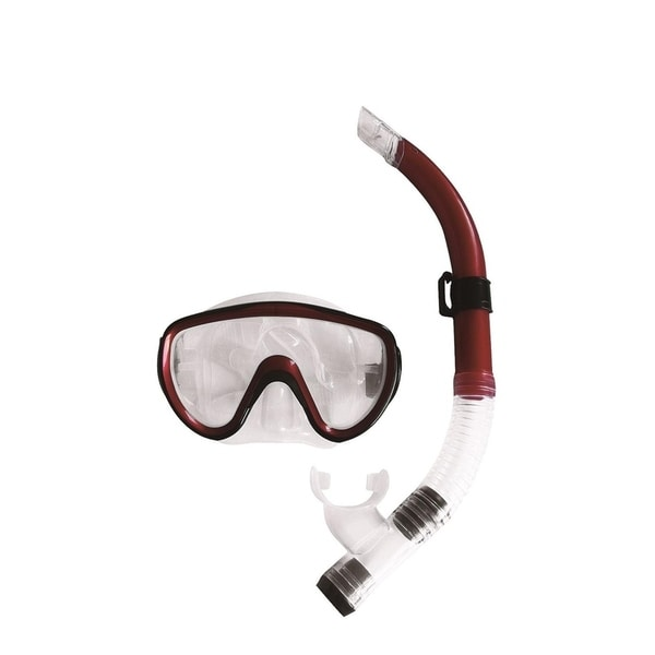 Burgundy-Red Black and Clear Zray Teen/Young Adult Scuba Mask and Snorkel Dive Set