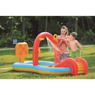"""88.5"""" Inflatable Children's Interactive Water Play Center with Slide"""