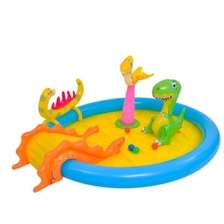 "84.5"" Blue and Yellow Inflatable Dinosaur Themed Children's Play Pool"