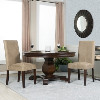 Set of Two Beige Microfiber Parsons Chairs