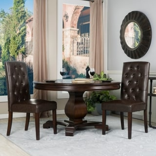 Rich Chocolate Faux Leather Tufted Parsons Chairs (Set of 2)
