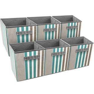 Sorbus Foldable Storage Cube Basket Bin, 6 Pack, Vertical Stripe Line Pattern (Aqua)|https://ak1.ostkcdn.com/images/products/16815931/P23118947.jpg?impolicy=medium