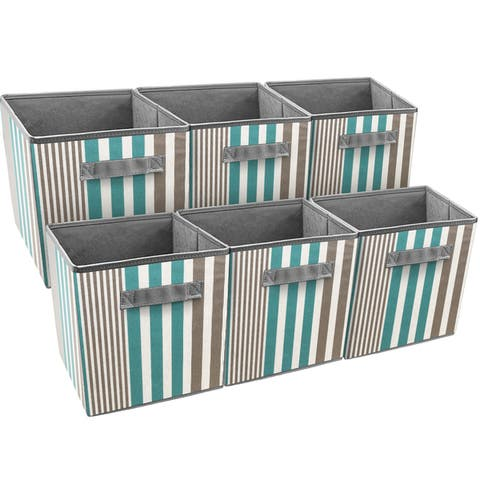 Sorbus Foldable Storage Cube Basket Bin, 6 Pack, Vertical Stripe Line Pattern (Aqua)