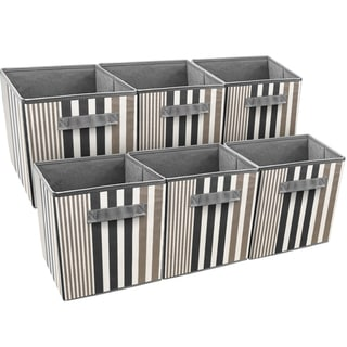 Sorbus Foldable Storage Cube Basket Bin, Vertical Stripe Line Pattern (6 Pack, Black)