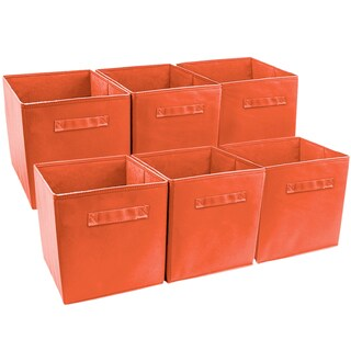 Sorbus Foldable Storage Cube Basket Bin (6 Pack, Orange)