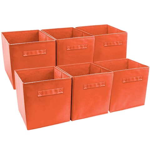 Sorbus Foldable Storage Cube Basket Bin (6 Pack, Orange)