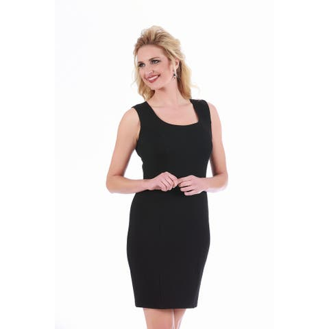 LaMonir Women's Sleeveless Short Square Neck Panel Dress