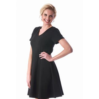 LaMonir Women's Rayon/Nylon/Spandex Short V-neck Short-sleeved Panel Dress|https://ak1.ostkcdn.com/images/products/16816147/P23119157.jpg?impolicy=medium