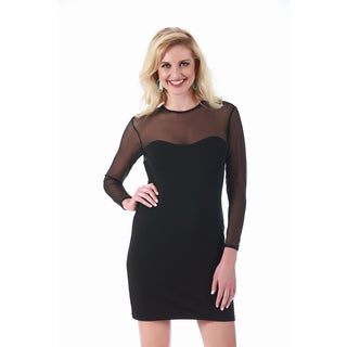 LaMonir Fitted Dress with Mesh Yoke and Sleeves
