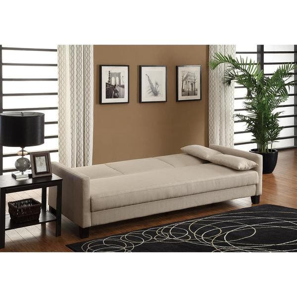 Magnificent Shop Dhp Vienna Tan Linen Sofa Sleeper With Pillows Free Short Links Chair Design For Home Short Linksinfo