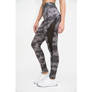 Plus Size Active Printed Leggings with Mesh