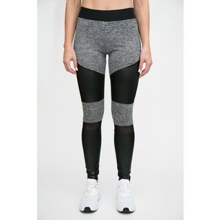 Active Leather Look Legging with Mesh Insert