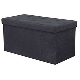 Sorbus Storage Bench Chest  Contemporary Faux Suede (Small, Black)