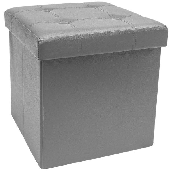 Ottomans Ellis Dark Grey Velvet Finish Storage Chest: Shop Sorbus Foldable Storage Ottoman