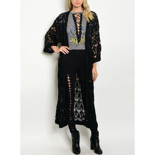 JED Women's Hand Knitted Chunky Black Maxi Cardigan