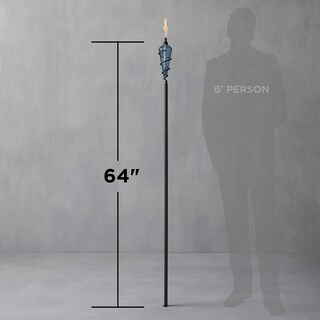 TIKI Brand (2) 64-inch Metal Torch Blue Bubble Glass and (3) 6-inch Glass Table Torches