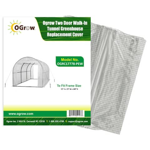 Two Door Walk-In Tunnel Greenhouse Replacement Cover- To Fit Frame Size 15' X 6' X 6' - White
