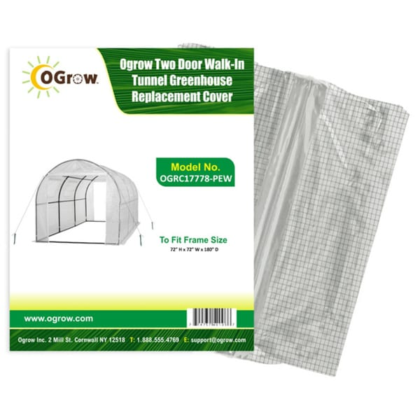 Ogrow 2 Door Walk-In Tunnel Greenhouse Replacement Cover - To Fit Frame Size 15' X 6' X 6' - White