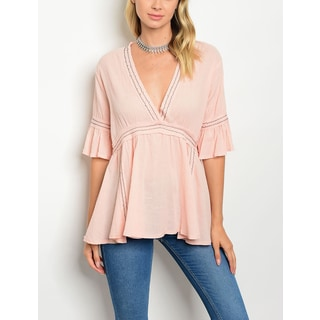 JED Women's Blush Three-Quarter Sleeve Flared V-neck Blouse