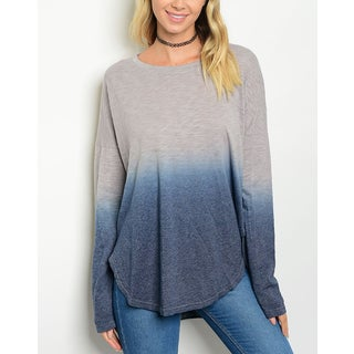 JED Women's Soft Knit Ombre Long Sleeve Tunic Top