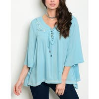 JED Women's Sky Blue Embroidered 3/4 Sleeve Tunic Top