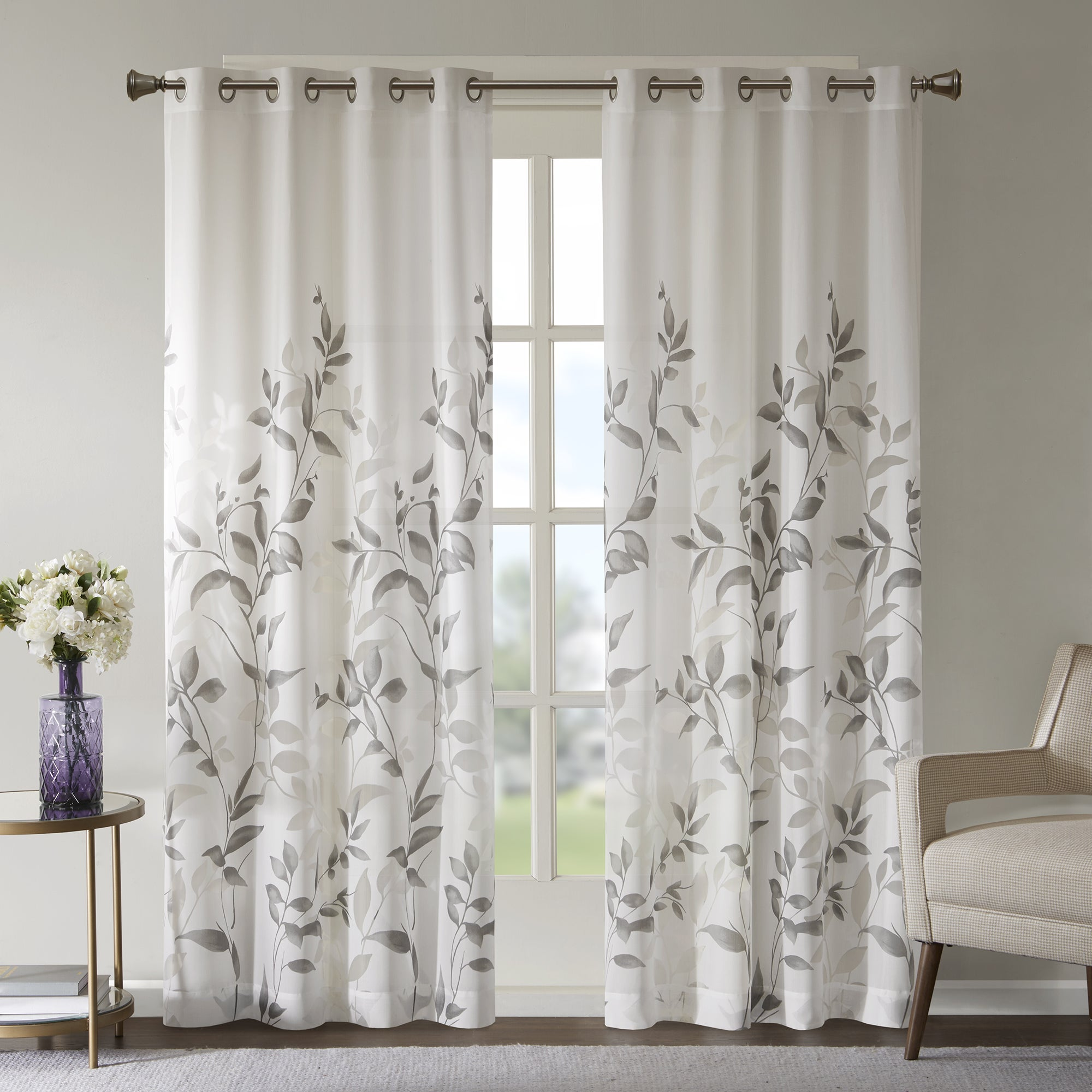Madison Park Vera Grey Burnout Printed Curtain Panel