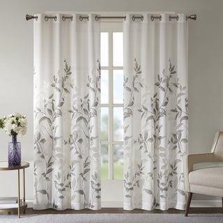 Madison Park Vera Grey Burnout Printed Curtain Panel