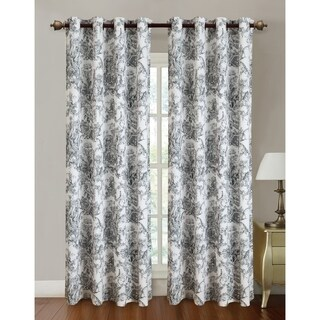 RT Designers Collection Multicolored Canvas Toile Printed 84-inch Grommet Curtain Panel Pair