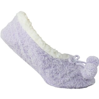 Sleepyz Fuzzy Shaggy Slipper Socks W Poms - Lilac