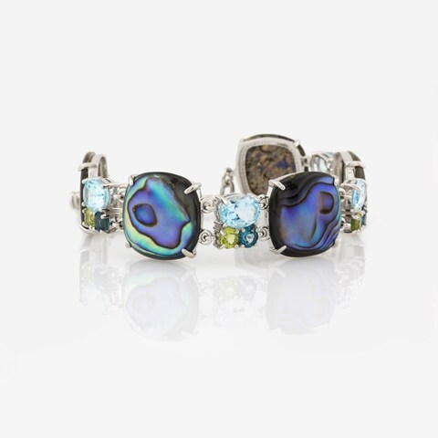 Pangea Mines Abalone, Peridot and Topaz Toggle Bracelet - Blue