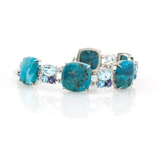 Pangea Mines Turquoise, Iolite and Topaz Toggle Bracelet - Blue