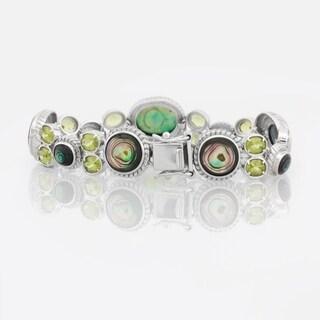 Pangea Mines Sterling Silver Abalone and Peridot Bracelet - Green