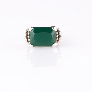 Sterling Silver Green Agate East-West Beaded Ring