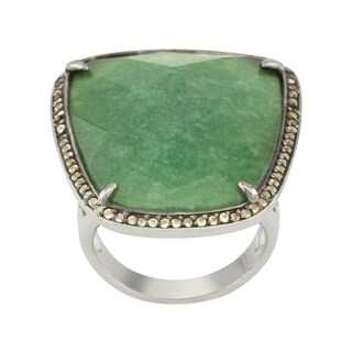 Sterling Silver Green Adventurine & White Topaz Ring