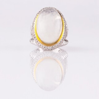 Oval Moonstone & White Topaz Split Shank Ring