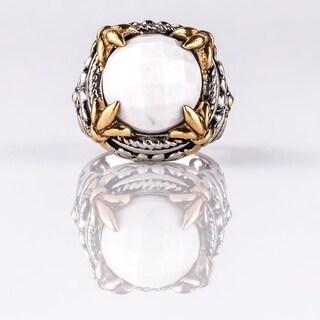 Checkerboard Cut White Agate Fleur-de-lis Ring Size 7