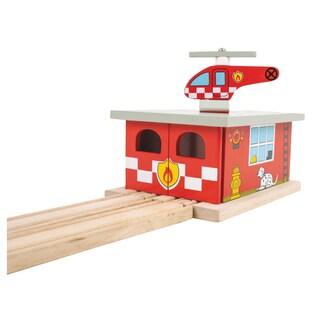 Bigjigs Toys Fire Station Shed Wooden Train Accessory