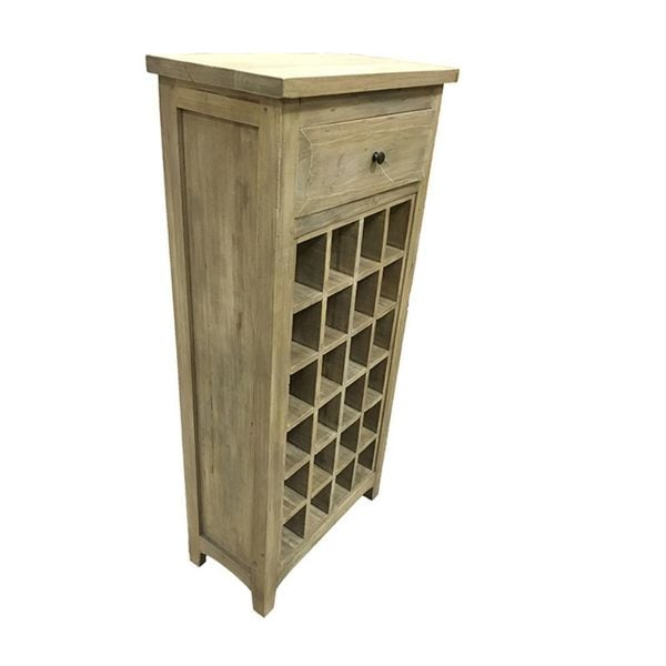 Benzara Brown Wood Single-drawer Wine Cabinet