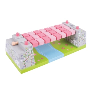 Bigjigs Toys Pink Rope Bridge Wooden Train Accessory