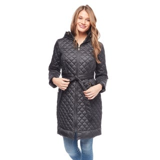 Ellen Tracy Women's Quilted Satin Belted Down Coat