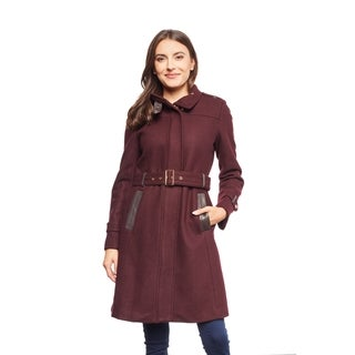 Cole Haan Women's Wool Belted Miltary Style Coat