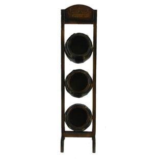 Benzara Engaging Brown Wood 3-bottle Wine Rack