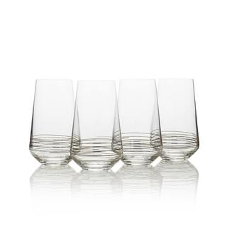 Mikasa Electric Boulevard Platinum 17 Oz Highball Drinking Glass - Set of 4