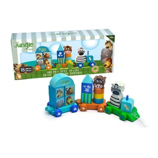 It's A Jungle In My Room 18-piece Wooden Shapes Pull Train