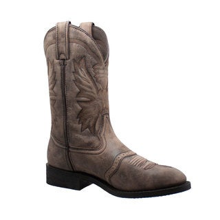 "Men's 11"" Round Toe Stonewashed Pull On Western Brown"