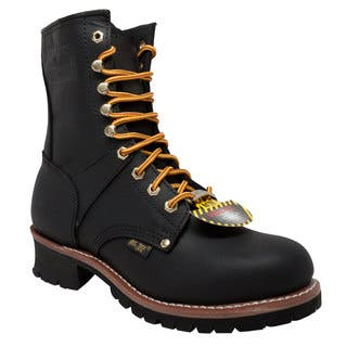 "Men's 9"" Steel Toe Logger Black