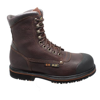 "Mens 8"" Steel Toe Work Boot Dark Brown"
