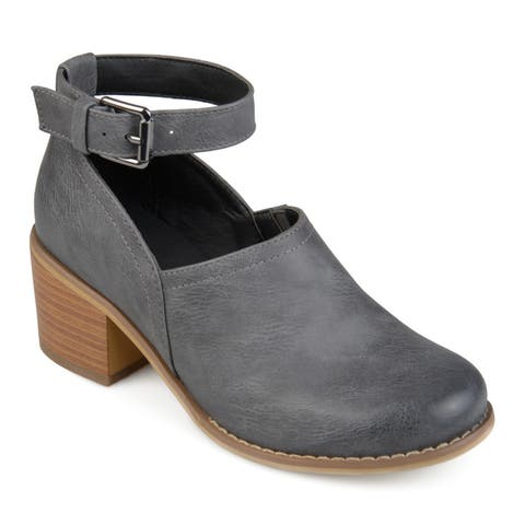Journee Collection Women's 'Zhara' Ankle Strap Stacked Heel Clogs